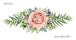 Vektorblumenstraußdesign: Gartenrosa-Pfirsichlavendel Rosen-wa Lizenzfreie Stockfotografie