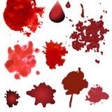Vektorblut plätschert lokalisiert auf Weiß Gestaltungselemente in der verschiedenen Art Rot spritzt Stockfoto