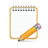 Vektorblyertspenna och anteckningsboksymbol Arkivfoto