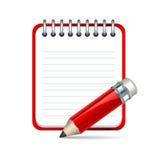 Vektorblyertspenna och anteckningsboksymbol Arkivfoton