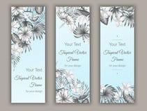 Vektorbokmärker med tropiska sidor, plumeria, strelitzia och hibiskusblommor royaltyfri illustrationer