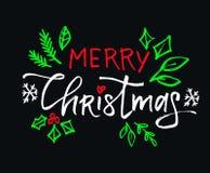 Vektorbokstäver för glad jul med svart bakgrund för härliga kulöra prydnader royaltyfri foto
