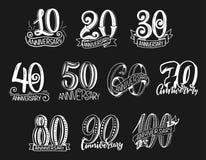 Vektorbokstävernummer för årsdagår stock illustrationer