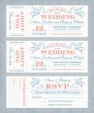 Vektorbröllop inviterar biljetter Arkivfoton