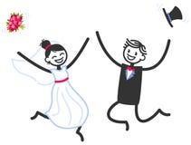 Vektorbröllopillustrationen av den lyckliga pinnen figurerar brud- banhoppning och att fira för par royaltyfri illustrationer