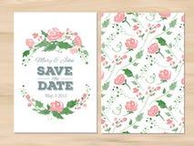 Vektorbröllopinbjudan med vattenfärgblommor stock illustrationer