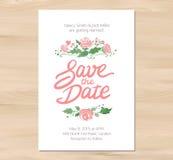 Vektorbröllopinbjudan med vattenfärgblommor royaltyfri illustrationer