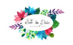 Vektorbröllopkort med blommor, vattenfärg Inbjudan- eller födelsedagte Arkivfoton