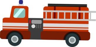 Vektorbrandlastbil på den vita Blackgrounden royaltyfri illustrationer