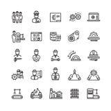 Vektorbransch som iscensätter den mekaniska tunna linjen symboler stock illustrationer