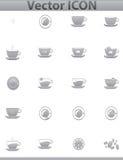 Vektorbraune Kaffeeikonen eingestellt. Schalen- und Caféikone Lizenzfreies Stockfoto