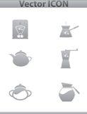 Vektorbraune Kaffeeikonen eingestellt und Caféikone Stockbild
