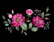 Vektorbroderi med blommor Arkivbild