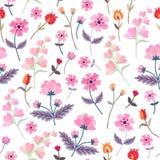 Vektorbroderi med gulliga lösa blommor Ditsay blom- sömlös modell på vit bakgrund stock illustrationer