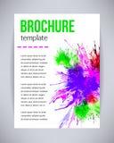 Vektorbroschüre und Flieger, Plakatschablone mit abstraktem Farbengrün, violettes Aquarell spritzt, fällt auf Papier oder Segeltu Stockfoto