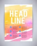 Vektorbroschüre und Flieger, Plakatschablone mit abstrakter Farbe, die freie Designe, rosa Aquarell sich gelb färben, spritzt, fä Stockbild
