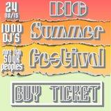 Vektorbroschyr, reklamblad, affisch för sommarfestival stock illustrationer