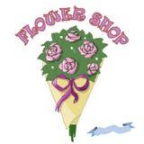 Vektorbukett av rosor i blomsterhandeln Royaltyfri Bild