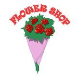 Vektorbukett av rosor i blomsterhandeln Arkivfoto