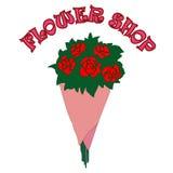 Vektorbukett av rosor i blomsterhandeln Arkivbild
