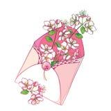 Vektorbuketten med översikten som blommar den Apple blommagruppen i rosa färger i öppet hantverkkuvert i pastell, färgade isolera vektor illustrationer