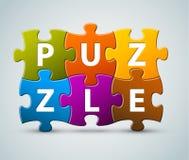 Vektorbunte Puzzlespielbeschriftung Stockbild