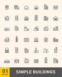 Vektorbyggnader gör symbolsdesignuppsättningen tunnare Arkivfoto