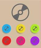 VektorCD- eller DVD-symbol med färgvariationer Fotografering för Bildbyråer