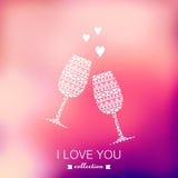 Vektorchampagnerschattenbild, Valentinstaghintergrund verwischt Lizenzfreie Stockfotos