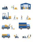Vektorcharakter logistisch und Transportwesenteamwork Stockbilder