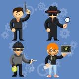 Vektorcharaktere mit einbezogen in kriminelle Aktivitäten Lizenzfreies Stockbild