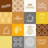 Vektorchoklad-, kakao- och kaffesymboler royaltyfri illustrationer
