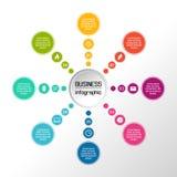 Vektorcirkel som är infographic med symboler Affären diagrams, presentationer och diagram vektor Royaltyfri Fotografi