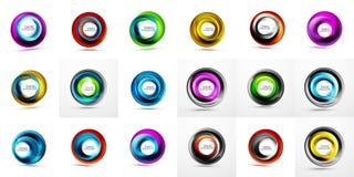 Vektorcirkelbakgrunder, virvelbakgrundsmall Mega samling av vektorabstrakt begreppbakgrunder stock illustrationer