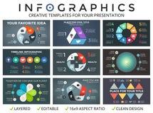 Vektorcirkelpilar den infographic uppsättningen, cirkuleringsdiagram, startar upp grafen, presentationspajdiagram Arkivbilder