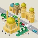 Vektorcityscape i arabisk stil Ställ in av isometriska byggnader, moskén, minaret, fästningporten, körbanan, bänkar, träd, bilar  vektor illustrationer