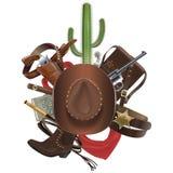 Vektorcowboy Concept med hatten Arkivbild