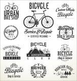 Vektorcykeln förser med märke och etiketter Fotografering för Bildbyråer