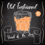 Vektord-clip Plakat Cocktail altmodisch für Restaurant und Café Hand gezeichnete Abbildung Vektor Abbildung