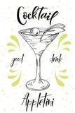 Vektord-clip Plakat Cocktail Appletini für Restaurant und Café Hand gezeichnete Abbildung Vektor Abbildung