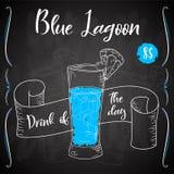 Vektord-clip Plakat Cocktail-blaue Lagune für Restaurant und Café Hand gezeichnete Abbildung Stock Abbildung
