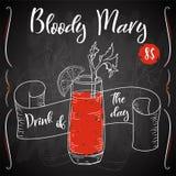 Vektord-clip Plakat Cocktail Bloody Mary für Restaurant und Café Hand gezeichnete Abbildung Lizenzfreie Abbildung