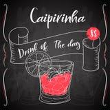 Vektord-clip Plakat Cocktail Caipirinha für Restaurant und Café Hand gezeichnete Abbildung Stock Abbildung