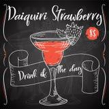 Vektord-clip Plakat Cocktail Daiquiri-Erdbeere für Restaurant und Café Hand gezeichnete Abbildung Vektor Abbildung