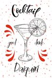 Vektord-clip Plakat Cocktail Daiquiri für Restaurant und Café Hand gezeichnete Abbildung Stock Abbildung