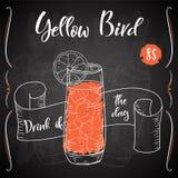 Vektord-clip Plakat Cocktail-gelber Vogel für Restaurant und Café Hand gezeichnete Abbildung Lizenzfreie Abbildung