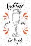 Vektord-clip Plakat Cocktail Kir Royale für Restaurant und Café Hand gezeichnete Abbildung Stock Abbildung