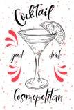 Vektord-clip Plakat Cocktail kosmopolitisch für Restaurant und Café Hand gezeichnete Abbildung Vektor Abbildung