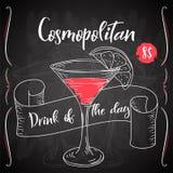 Vektord-clip Plakat Cocktail kosmopolitisch für Restaurant und Café Hand gezeichnete Abbildung Stock Abbildung