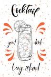 Vektord-clip Plakat Cocktail Long Island für Restaurant und Café Hand gezeichnete Abbildung Lizenzfreie Abbildung